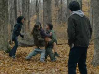 Девушка встречает в лесу четырех парней и подвергается групповому изнасилованию.